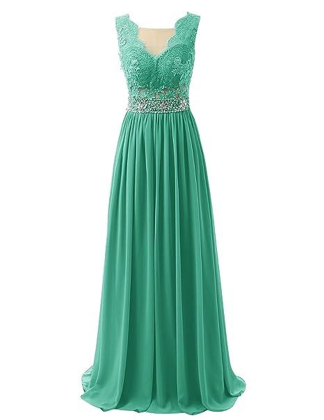 Dresstells reg;Vestido De Fiesta Largo De Gasa Encaje Espalda Transparente Verde 38