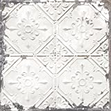 Brewster Home Fashions NuWallpaper Vintage Tin Tile Peel & Stick Wallpaper, White & Off-White