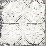 Brewster Home Fashions NuWallpaper Vintage Tin Tile Peel & Stick Wallpaper, White