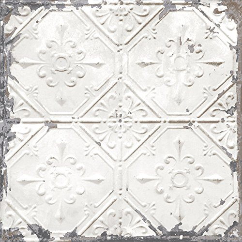Brewster Home Fashions NuWallpaper Vintage Tin Tile Peel & Stick Wallpaper White & Off-White