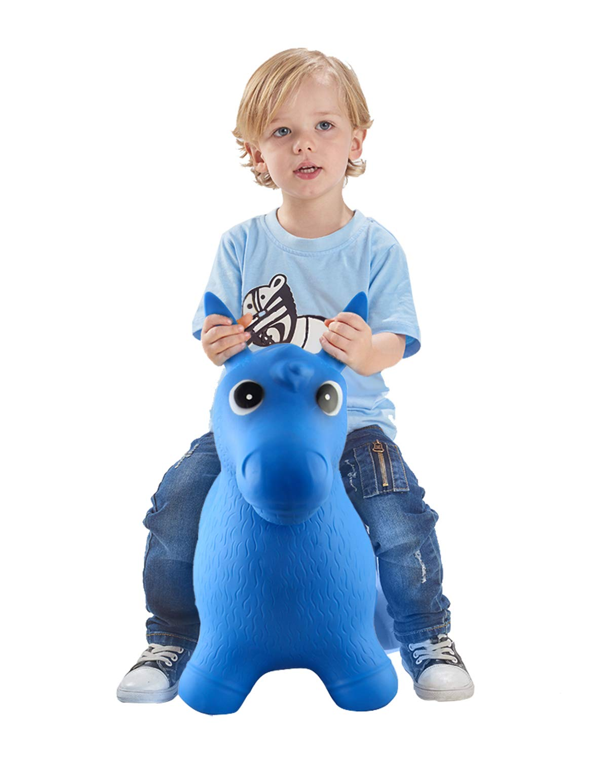 Bouncy Horse for Toddlers, Baby Bouncer Rocking, Bouncing Hopper Animals, Kids/Infant Riding Toys Girl Boy, Inflatable Farm Hopping/Hoppity Hop Sit and Spin (Blue) by Bodaon