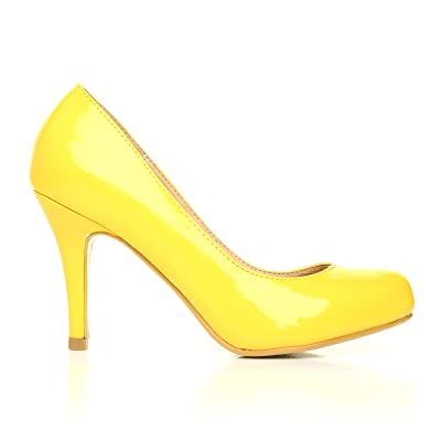 ShuWish UK - Chaussure Talon Vernis Jaune Perle Cuir Pu Talon Haut  Classique Travail 70f14a5bd1d