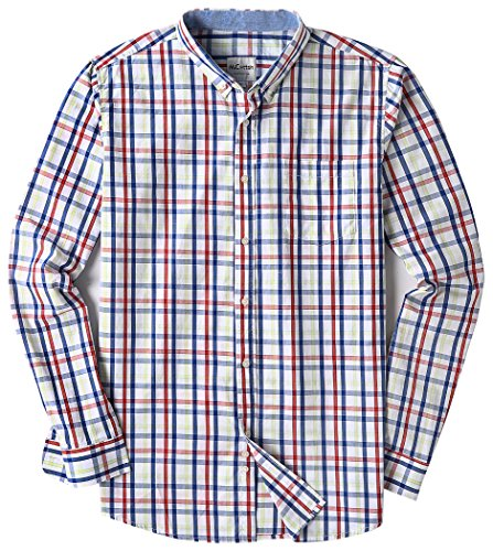 Men's Long Sleeve Plaid Button Down Casual Dress Shirts Red & Navy (Navy Red Plaid Dress)