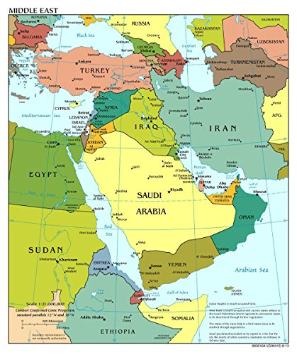 Gifts Delight LAMINATED 24x28 Poster: Large scale political map of the Middle East with major cities - 2013 Middle East (Middle East Paper)