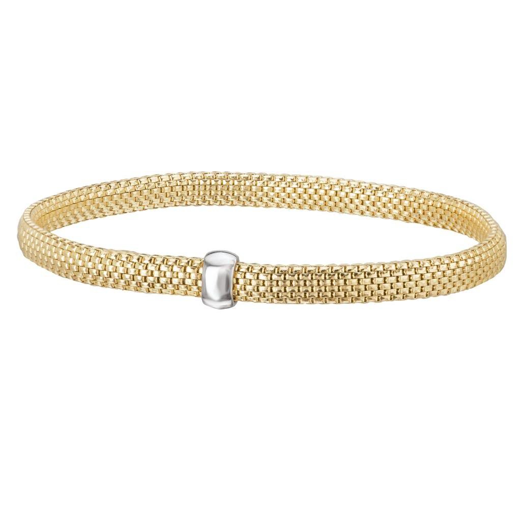 14k Yellow Gold over 925 Silver Flat Woven Stretch Bangle Bracelet- 6.25+ IN
