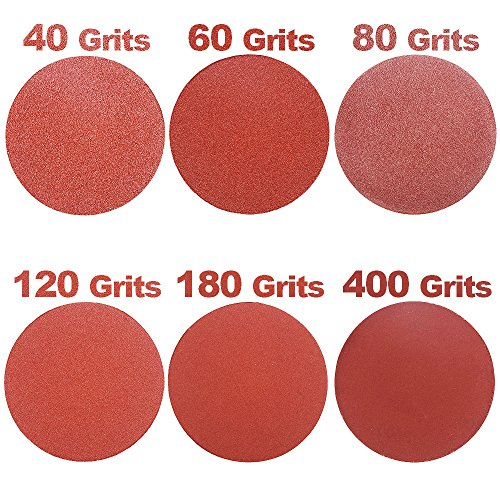 HIFROM 5 Inch Sanding Discs NO-Hole Hook and Loop 40 Grit Sandpaper Aluminum Oxide Random Orbital Sander Pads (60-Pack) by HIFROM (Image #3)