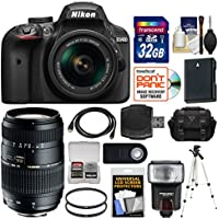 Nikon D3400 Digital SLR Camera & 18-55mm VR DX AF-P Zoom (Black) with 70-300mm Lens + 32GB Card + Case + Flash + Battery + Tripod + Kit