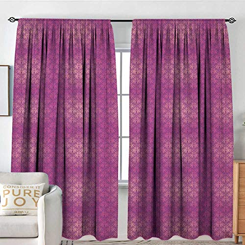 Blackou Curtains Victorian,Antique Style Scroll Motifs Flowers Pink Shades Classical Pattern, Magenta Peach and Purple,Wide Blackout Curtains, Keep Warm Draperies,Set of 2 Panels -