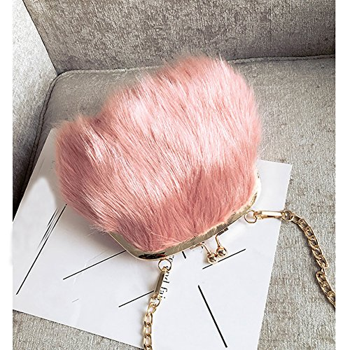 Shoulder Women Chain Kiss Fur Mini Soft Fluffy Lock Fashion Pink Purse Faux Crossbody Bags Handbags Feather 7dWP44xq