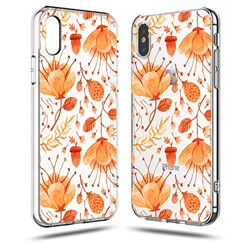 iPhone XR Case,Orange Yellow Pumpkin Floral Flowers Daisy Roses Fall Autumn Maple Leaves Plants Pine Nuts Girls Women Halloween Chic Elegant Simple Clear Soft Case for Teens Compatible for iPhone XR -