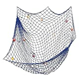Mediterranean Style Nautical Decor,Wall and Home Decor, Party Supplies, Wall Art Decorative Fish Net(Blue).