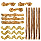 Pawstruck Mini Bully Stick Variety Pack - 15 Low-odor Bully Sticks for Toy Breeds & Small Dogs, Best Beef Pizzle Stix Dog Treats, Natural Dental Dog Chews: Straight, Steer, Spring, Braid, Barbell