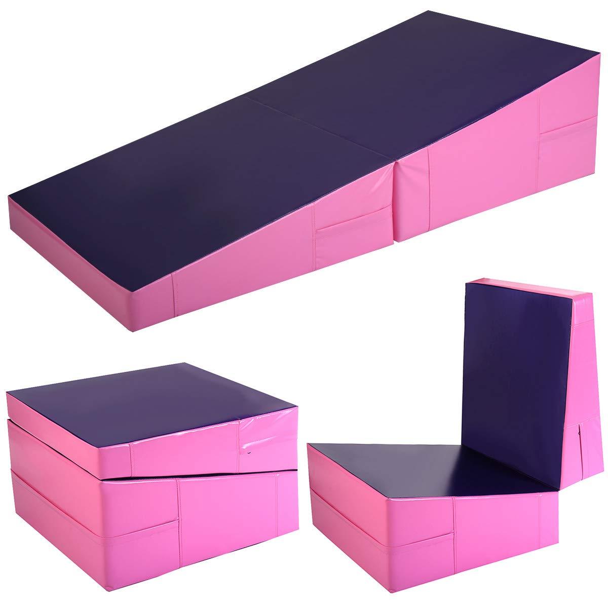 Giantex Incline Gymnastics Mat Wedge Folding and Non-Folding Gymnastics Gym Fitness Skill Shape Tumbling Mat for Kids Play Home Exercise Aerobics 60'' X 30'' X 14''(Pink/Purple)