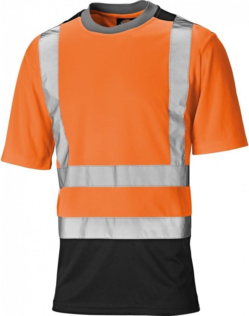 Dickies Mens Alta Visibilidad Viz poliéster Camiseta de Dos Tonos Naranja Naranja/Azul Marino Talla:4XL - Chest 60-62