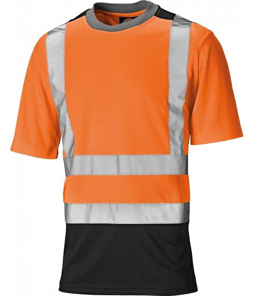Dickies SA22081 ORN4XL Size 4X-Large High-Vis T-Shirt Orange//Navy Blue