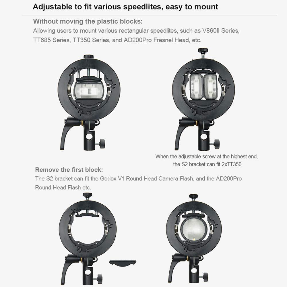 Godox S2 Speedlite Bracket for Godox AD200Pro S-Type Bracket Updated Version Bowens Mount Holder for V1 Round Head Speedlite V860II // TT685 // TT350 Series AD400Pro AD200