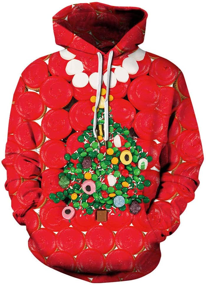FDFSDAMAI 3D Printed Hoodie,Christmas Tree Food Printed Sweatshirt Men Women Novelty Hooded Pullover Unisex Autumn Winter Loose Leisure Couple Sport Casual Hoodie Festival Gift