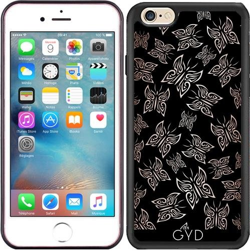 Coque Silicone pour Iphone 6/6S - Papillons Or Rose Noire by Nina Baydur