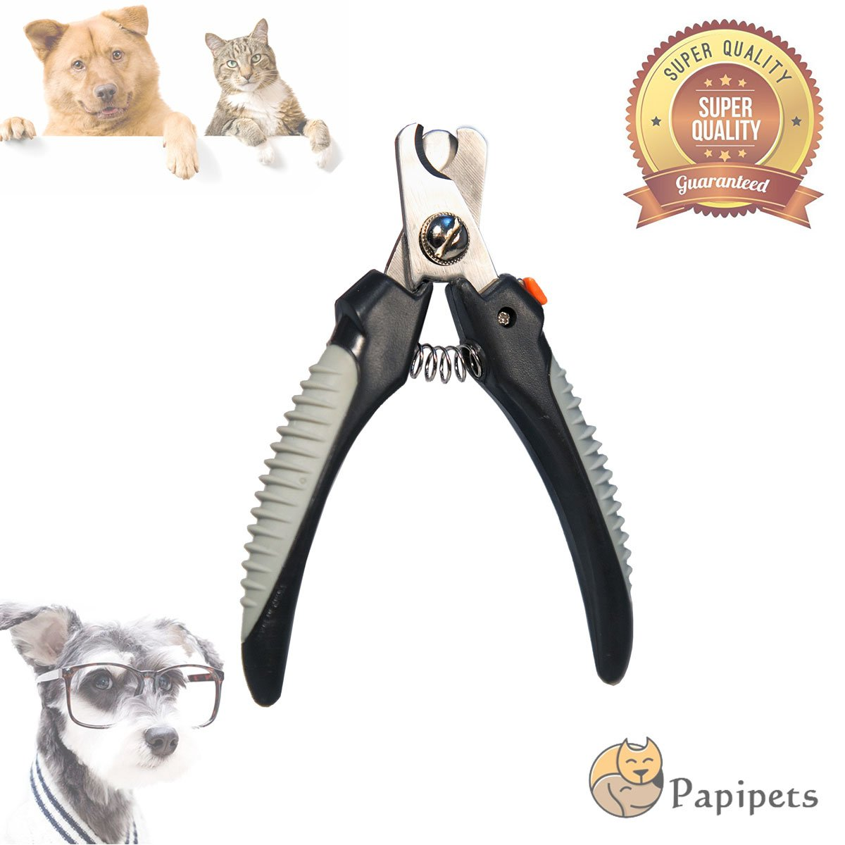 Papipets Pet Nail Clippers Adjustable Safety Guard Dog Cat Grinder Trimmer with Quality Sharp Stainless Steel Blades