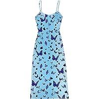 Bohemisk spaghettiband-bodycon-klänning för kvinnor vår sommar sexig ärmlös e-flickor 90-tal Y2K camping streetwear