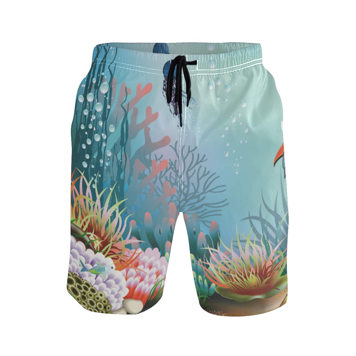 WIHVE Mens Beach Swim Trunks Coral Starfish and Tropical Sea Boxer Swimsuit Underwear Board Shorts with Pocket
