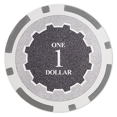 Poker Denominations Chip (Brybelly Eclipse Poker Chips Heavyweight 14-gram Clay Composite - Pack of 50 ($1 Gray))