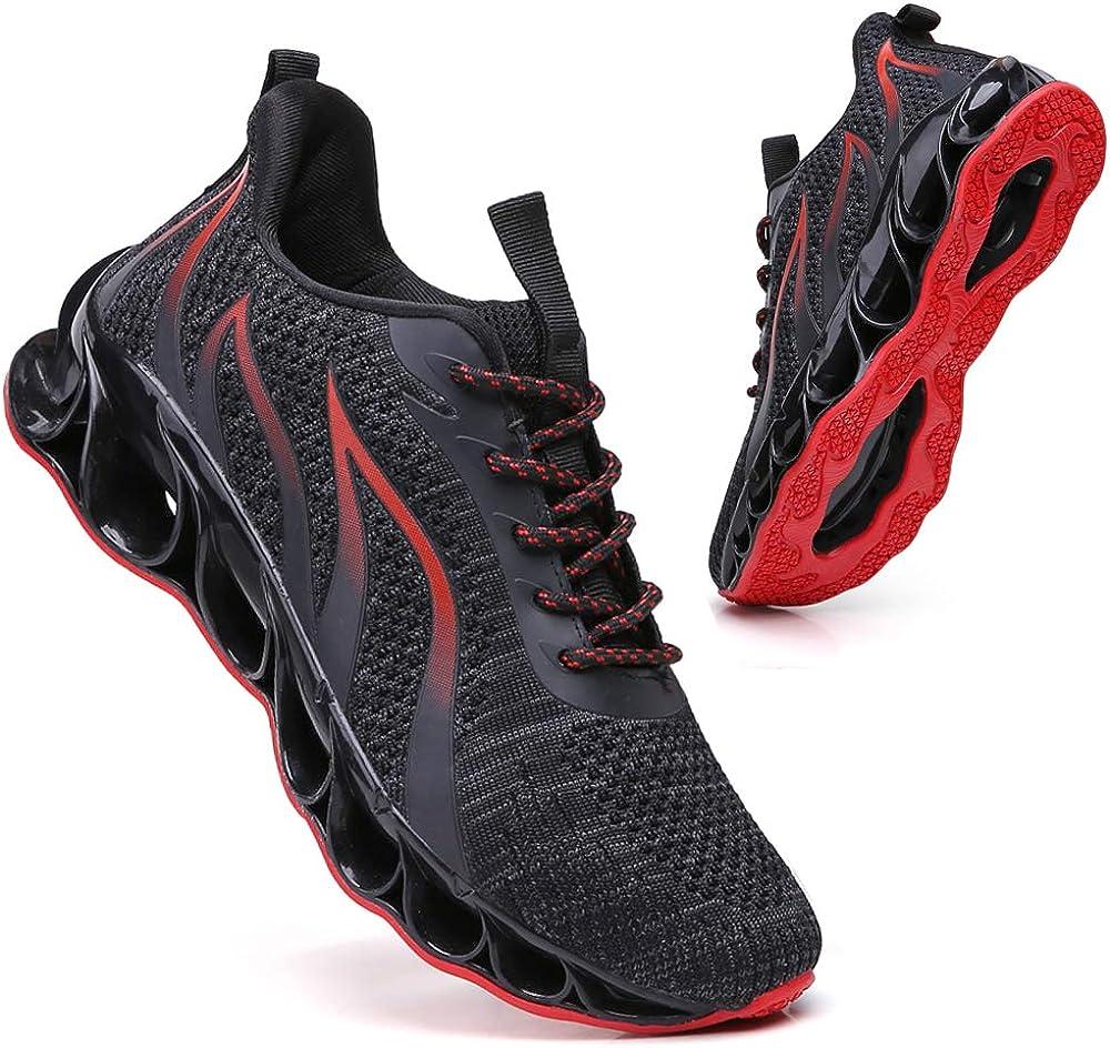 wanhee Running Tennis Shoes Men Blade Slip on Athletic Walking Jogging Road Trail Sport Sneakers Mesh Breathable