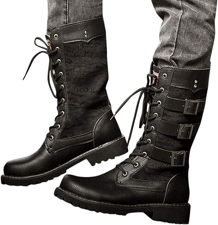 KUDICO Bottines Militaire Femme Mode Rock Boucle Décoration Lacets Bottes Motard Cuir PU Moto Cheville Bottines Chaussures Boots