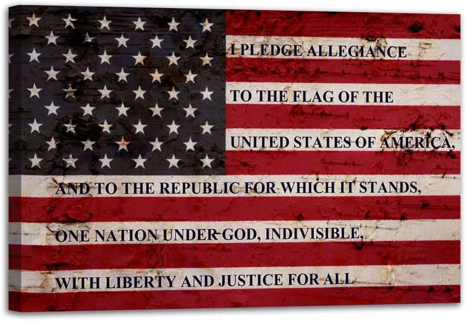 "VIIVEI USA American Flag Sign Canvas Print Wall Art Decor US Pledge of Allegiance Artwork Home Picture for Bedroom Living Room Thin Red Line Painting Poster Framed Ready to Hang (24""x36"", 3)"