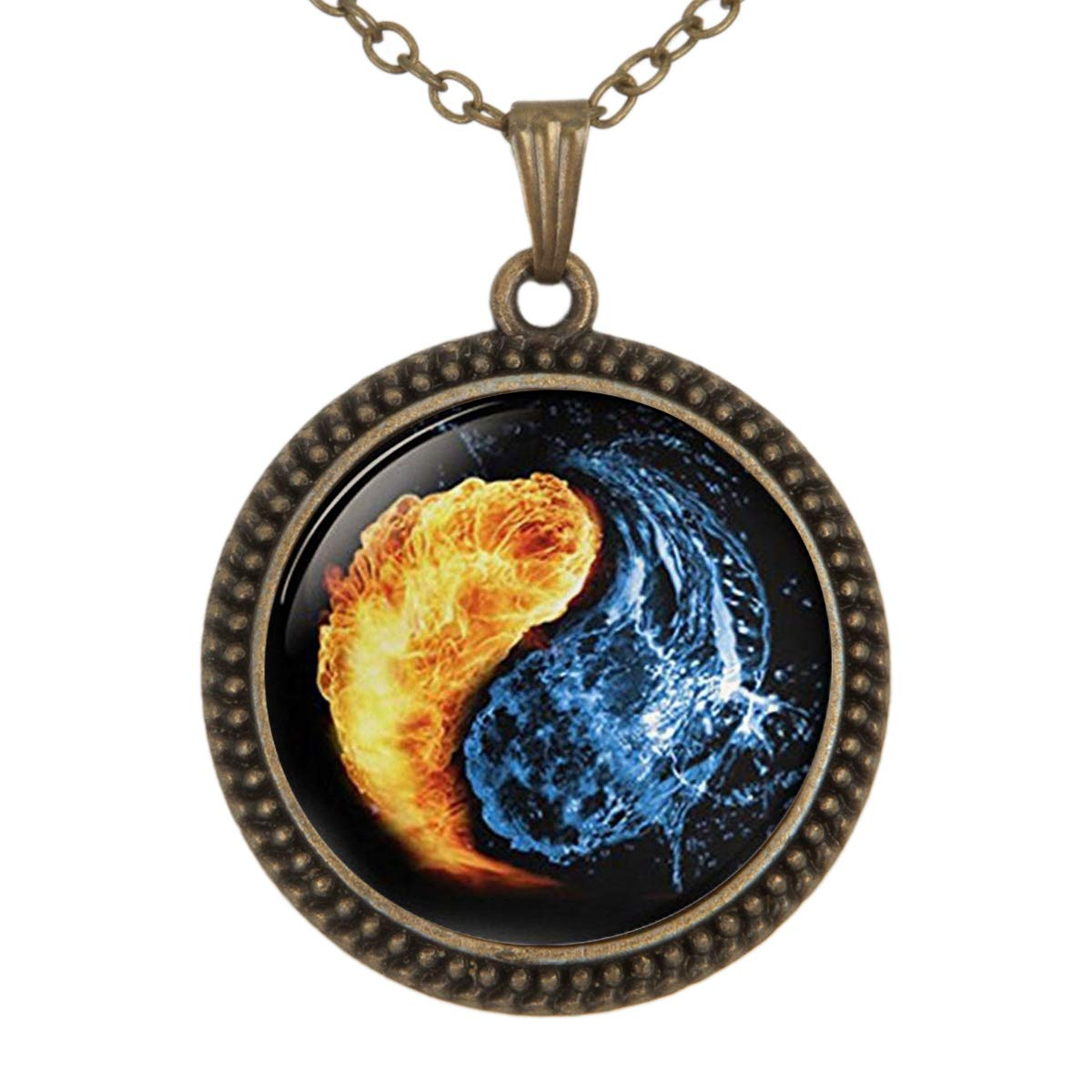 Lightrain Yin Yang Fire and Water Pendant Necklace Vintage Bronze Chain Statement Necklace Handmade Jewelry Gifts