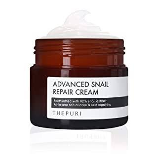 THEPURI Advanced Snail Repair Cream 3.17 fl. oz. (90g) / 92% Snail Mucin Extract, All in One Recovery Anti-Aging Moisturizing Facial Cream, Evens Skin Tone and Fades Dark Spots, Reverses Sun Damage
