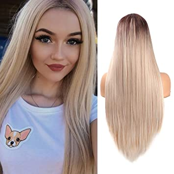 Amazon.com   Fani Long Straight Blond Ombre Wigs for Women 24 Inch Dark  Brown Roots Middle Part 2 Tone Mixed Color Heat Resistant Synthetic Full Wig    ... e46c707420