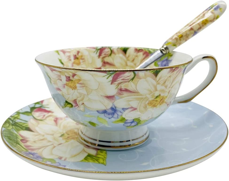 Amazon Com Krysclove Vintage Ceramic Teacup Elegant Coffee Cup With Spoon And Saucer Set Fine Royal Bone China Tea Cups Blue Cup Saucer Sets