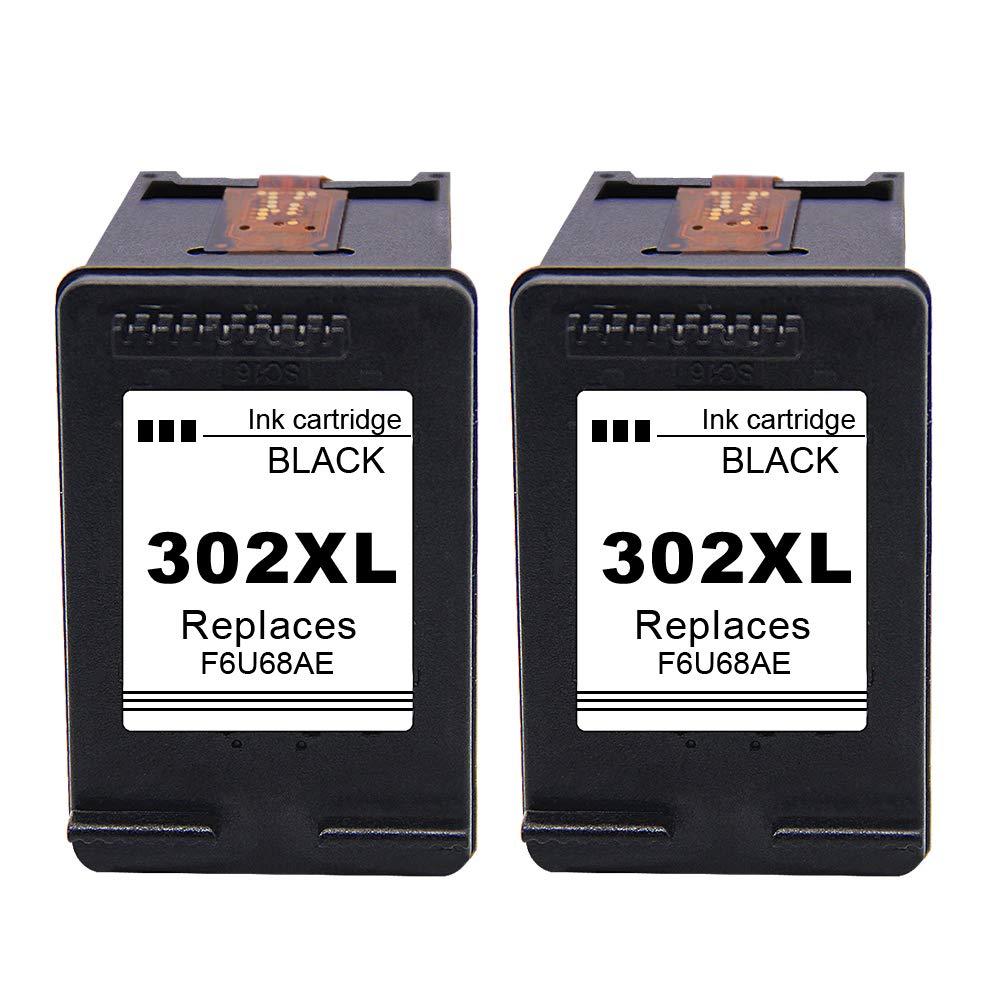 Ksera Remanufacturado Cartuchos de Tinta HP 302 302XL 2 Paquetes de Negro (F6U68AE) Reemplazos Alto Rendimiento Cartuchos de Tinta Compatible con HP ...