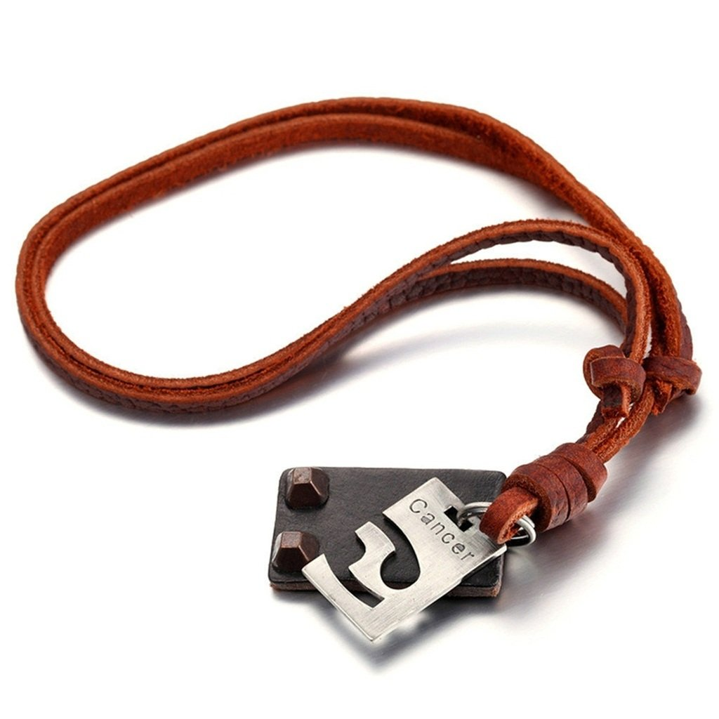KnSam Men Adjustable Leather Cord Alloy Cancer Dog Tag Pendant Necklace Silver Brown 4.1x2.6MM