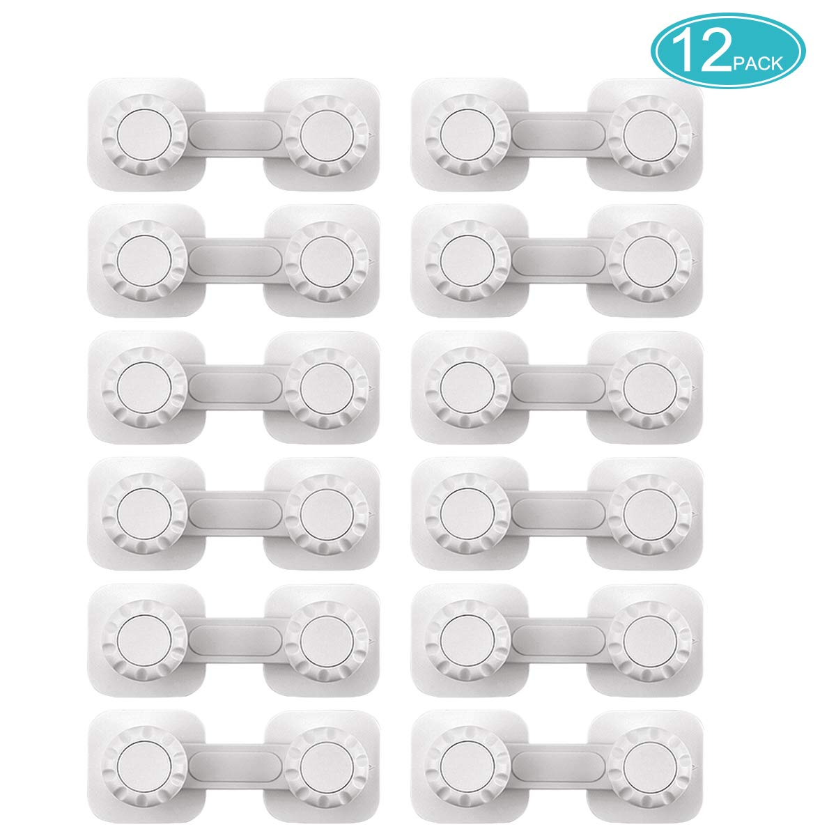 Baby Safety Locks, 12 Pack Child Proof Cabinet Locks for Cabinets, Doors, Drawers, Fridge, Oven | No Tools or Drilling Required