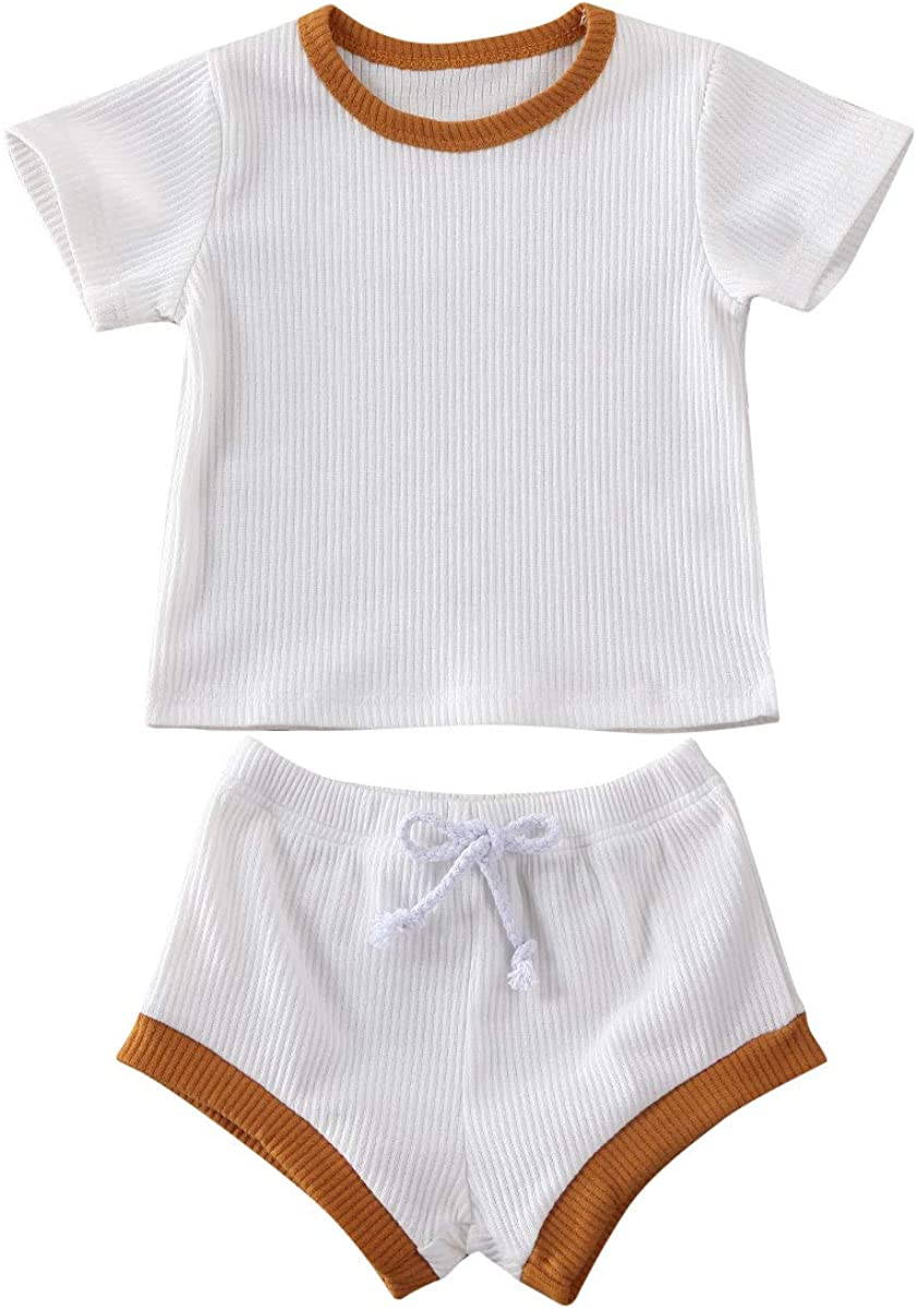 Sasaerucure Unisex Baby Clothes Infant Baby Boy Girl Knitted Short Sleeve Top Shorts Set Pajamas 2 Pieces Outfit Set