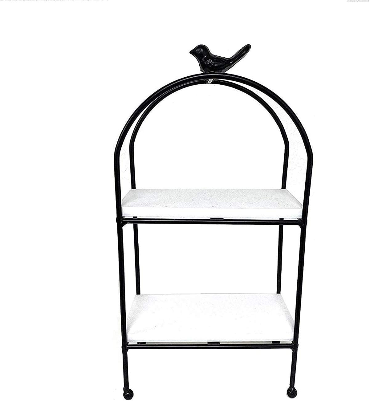 THE NIFTY NOOK Farmhouse Metal and Wood Two Tier Tray Stand (2 Tier Black Bird)