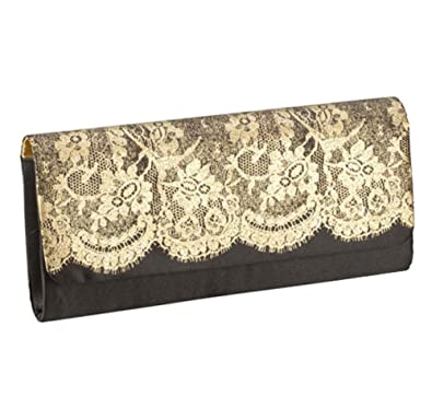 best selection of 2019 best cheap wholesale dealer Womens Clutch Purse Elegant Black Gold Lace Evening Bag ...