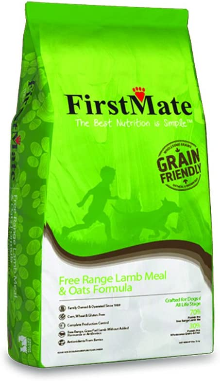 FirstMate Pet Foods Free Range Lamb and Oats Dog Food, 5 Pounds, High Protein Dog Kibble
