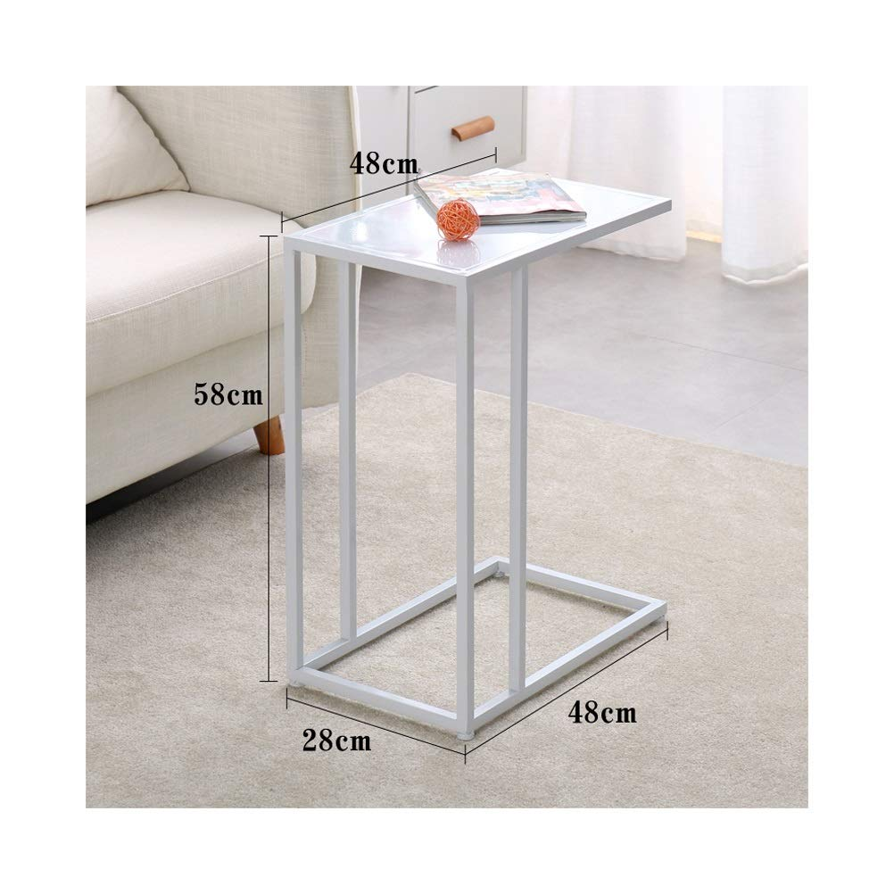 End Tables Simple C-Shape Coffee Table Metal Sofa Side Shelf Office Creative Furniture, No Assembly Required 0723 (Color : White) by End Tables