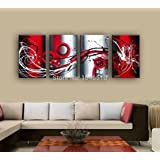 fashiontopdearls 4 Piece Set Grey White Black and Red Passion Large Wall Painting On Canvas Monder Abstract Oil Art Home Decoration