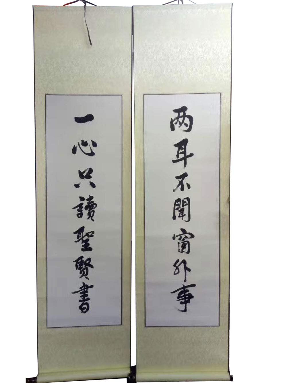 OMDD Set of 2 Sumi Hanging Scrolls Blank Calligraphy Scrolls Classic Chinese Calligraphy/Painting Blank Scrolls (Color May Vary)