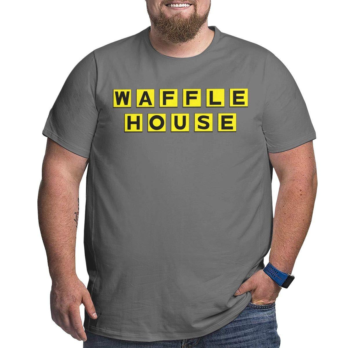 Fat Men's T Shirt Waffle House Logo Tee Shirts Cotton T-Shirt Short-Sleeve Round Neck Tshirt for Men Youth Boys Plus Size 4XL Deep Heather by BKashy