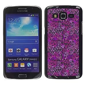 iKiki Tech / Estuche rígido - Purple Pink Bling Pattern - Samsung Galaxy Grand 2 SM-G7102 SM-G7105