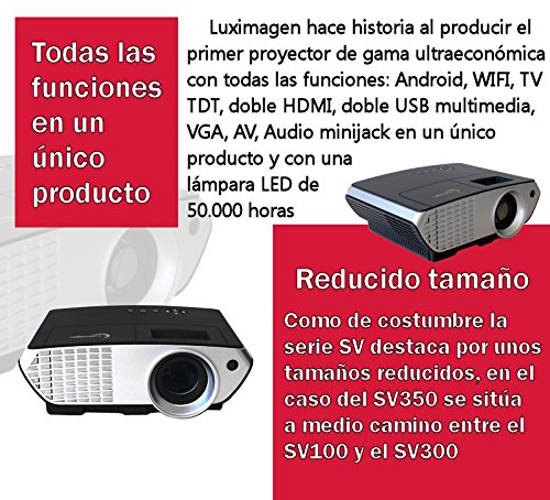 Proyector FULLHD modelo (2018)  Luximagen SV350, Android, Wifi, TV TDT, AC3, LED, compatible con PS4, Switch, Xbox One (Con TDT, Wifi, color negro): ...