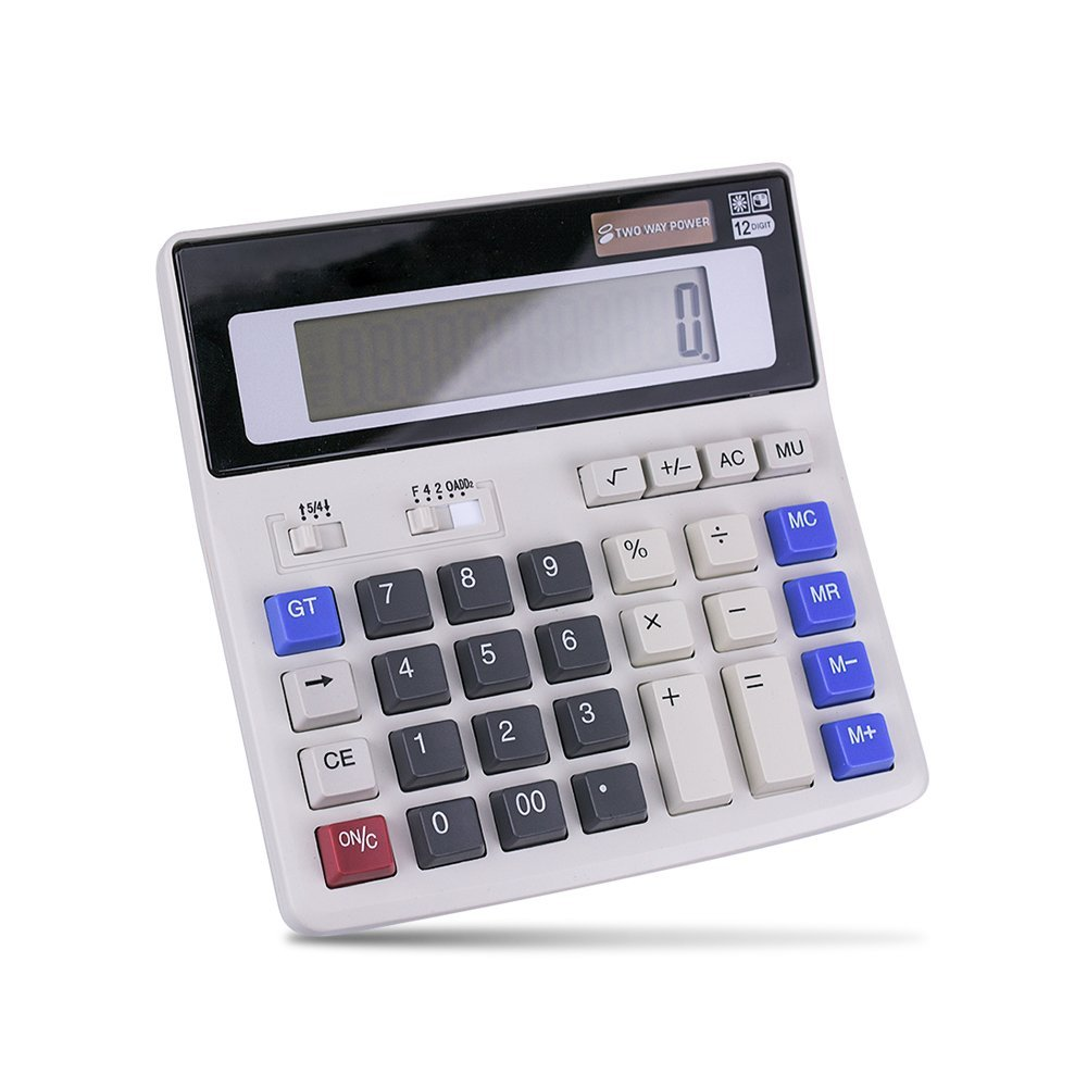 White LHIABNN Business Desktop Office Calculator 12 Digit Large LCD Display,Scientific Electronic Big Button Calculator for Solar /& Cell Battery Powered Fit for Student Business Financial