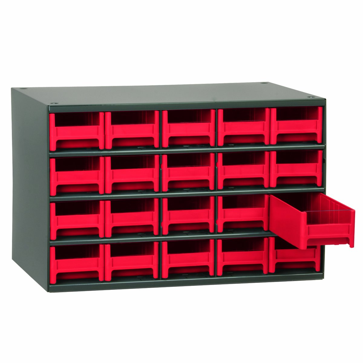 Akro-Mils 19320 17-Inch W by 11-Inch H by 11-Inch D 20 Drawer Steel Parts Storage Hardware and Craft Cabinet, Red Drawers by Akro-Mils