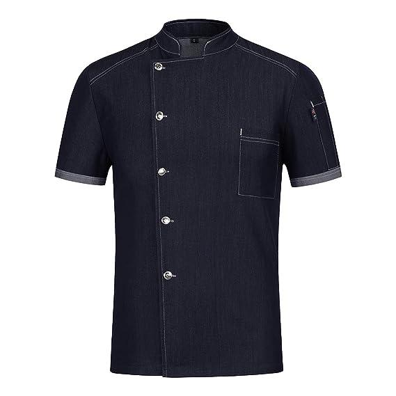 Pinji - Camisa de Chef Cocina de Denim Profesional Unisex Diseño Manga Corta para Verano, Uniforme de Chef Cocinero Camarero Clástico, Transpirable y Resistente al Desgaste: Amazon.es: Ropa y accesorios