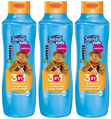 Suave Kids 3 in 1 Shampoo Conditioner and Body Wash, Razzle Dazzle Raspberry, 22.5 Ounce (Pack of 3) Packaging May Vary by Suave